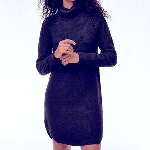 Navy Turtleneck Knit Sweater Dress